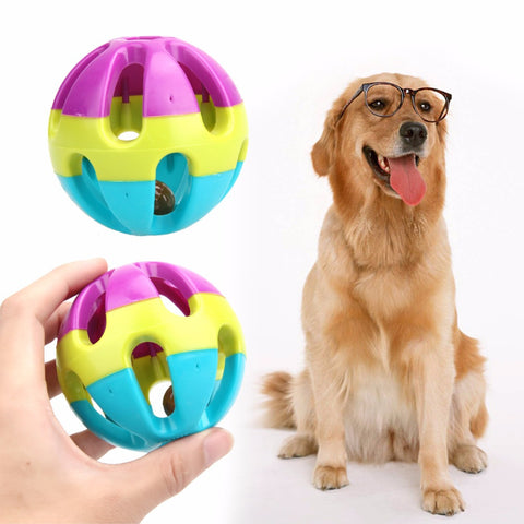 Plastic  Dog Toys Happy Jingle Bell Ball Chewing Ball Toy for Dogs/ Cats
