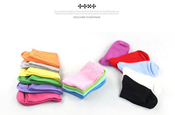 Fashion Solid Candy  Color Short Socks