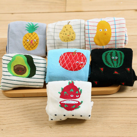 Kawaii Fruit Series Socks For Women Men Creative Watermelon Kiwi Pears Pineapple Apple Socks Healing Cartoon Long Sock