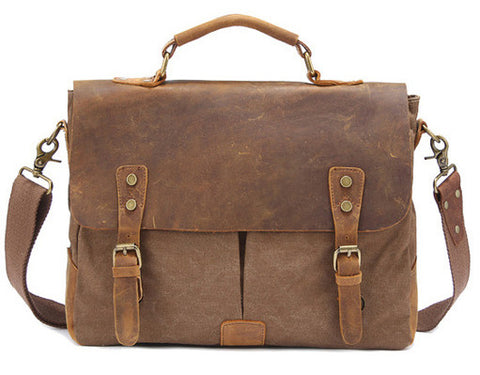 """Free Shipping"" Men's Vintage Crossbody  Military Canvas   Leather shoulder bag"