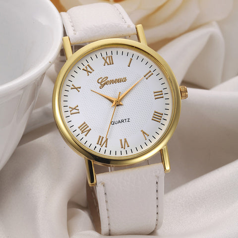 Feitong Geneva Watch Men Women Leisure Dial Faux Leather Band Roman Numerals Quartz WristWatch
