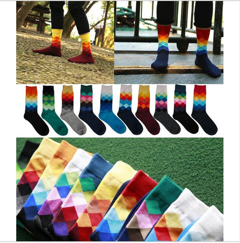 10 colors Men's  British Style Plaid Socks