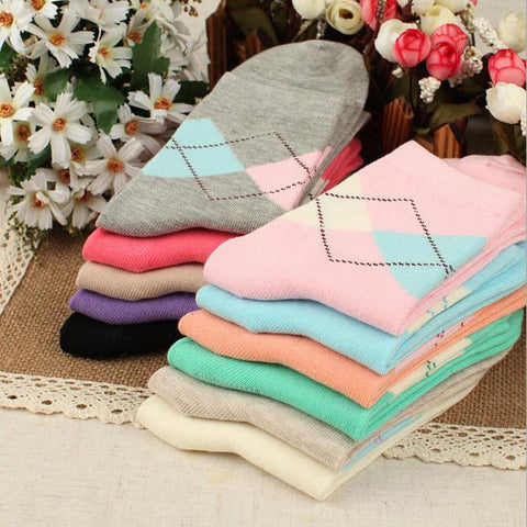 Fashion  Warm Women Color Short Sock  Rhombus Pattern