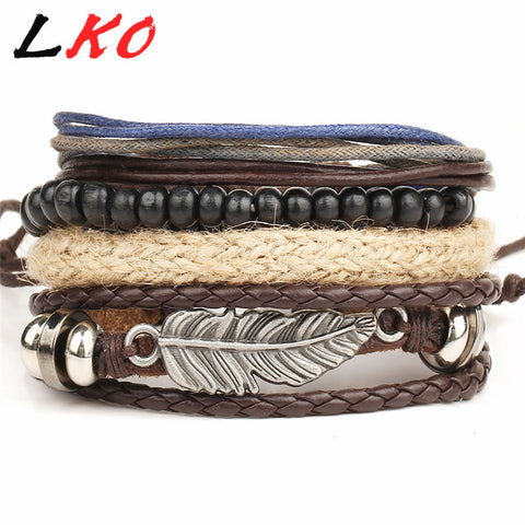 HOT 4pc Punk  Wrap Leather Bracelet for Men