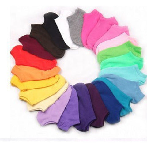 10Pairs Candy Color Women Short Ankle Socks