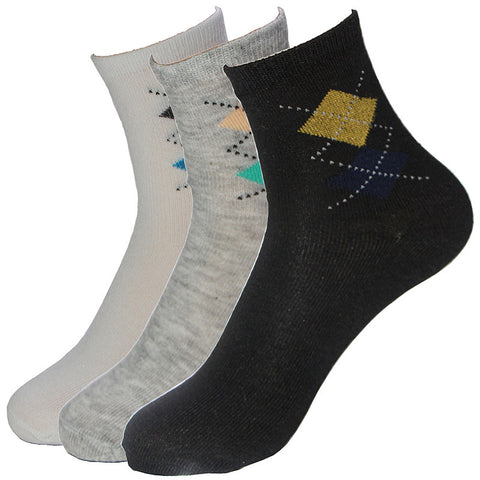 Classical Men's Socks Bilateral Rhombus Quality 5 Colors Cotton Polyester Fitted Breathable Sock