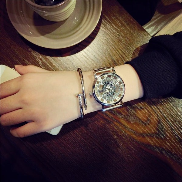 New Brand Luxury Fashion Casual Stainless Steel Men Skeleton Watch  Steel Quality