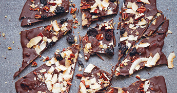 Vegan chocolate bark with coconut and cherries