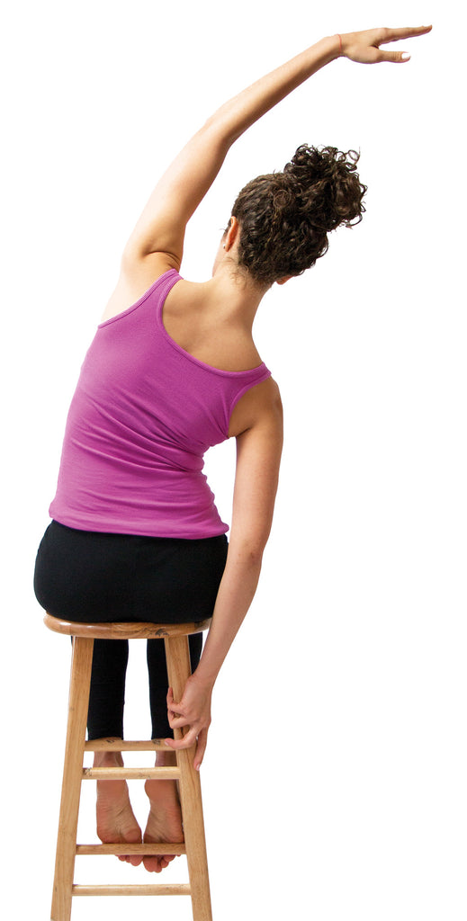 side stretch using chair