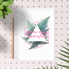 Urban Wedding fern and neon wedding invitation