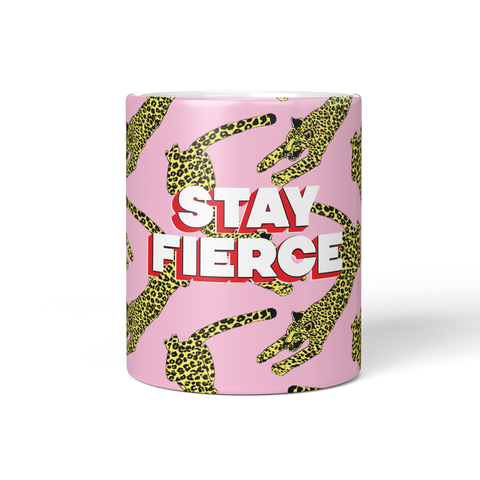 Stay Fierce Pink Leopard Coffee Mug