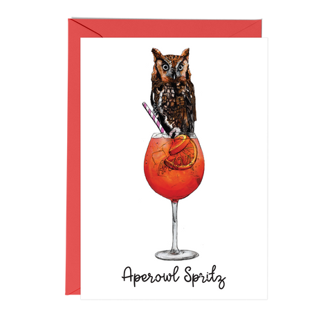 Aperol Spritz & Owl birthday card