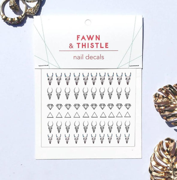 ramskull and geometric nail decal set