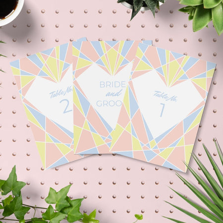 Art Deco Heart Diy Wedding Invitation Set - Fawn and Thistle