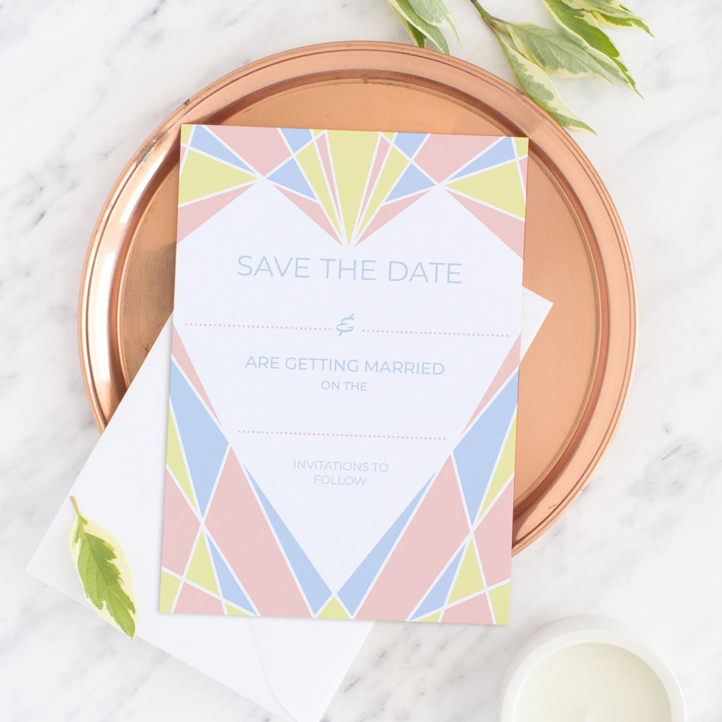 Art Deco Heart Save the Date - Fawn and Thistle