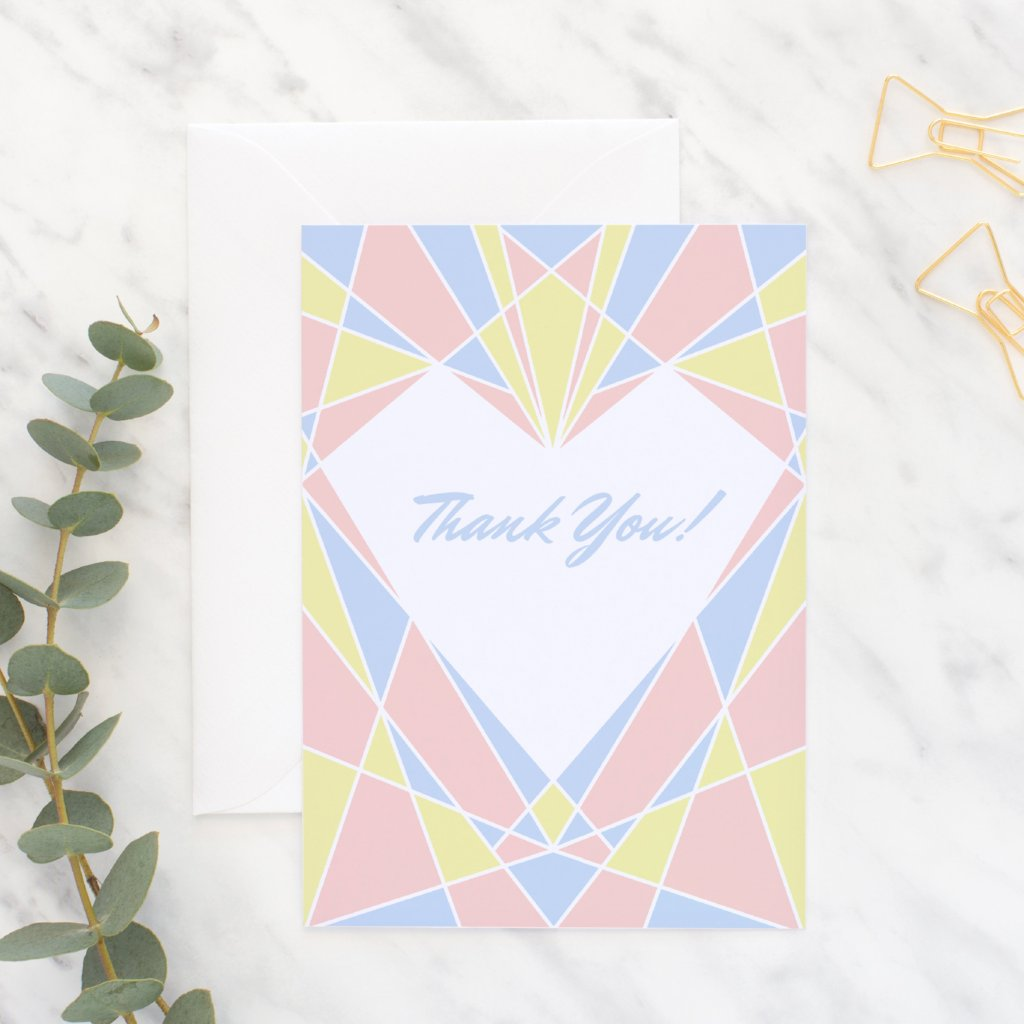 Art Deco Heart Thank you Card - Fawn and Thistle