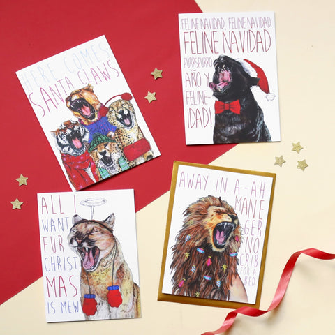 Caroling Cats Christmas Card Pack - Fawn and Thistle