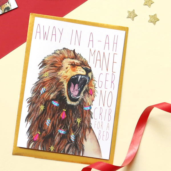 Caroling Cats Lion Christmas Card - Fawn and Thistle