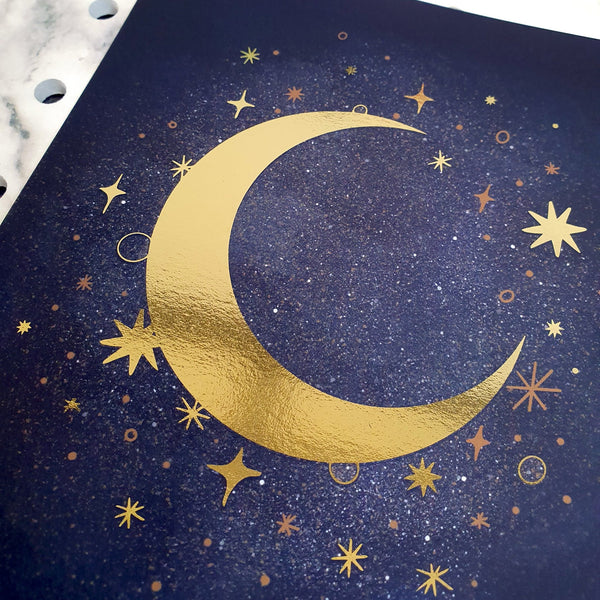 Celestial Moon and Star Foiled A5 Mini Art Print - Fawn and Thistle