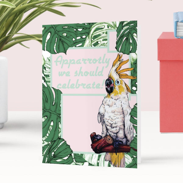 Cockatoo Celebration Greeting Card - Fawn and Thistle