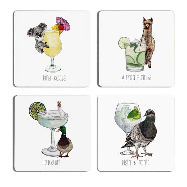 Cocktail Animals Coaster set - Fawn and Thistle