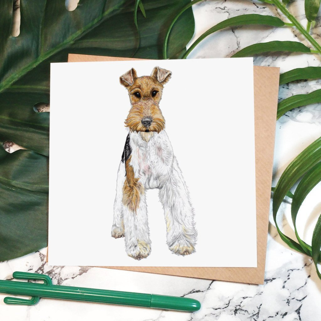 Fergus the Fox Terrier Greeting Card - Fawn and Thistle