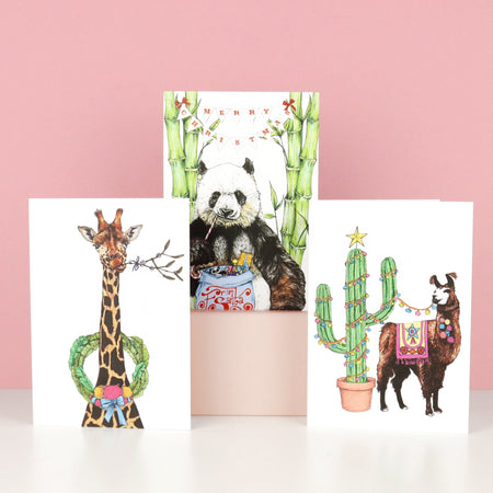 Festive Fiesta Giraffe Christmas Card - Fawn and Thistle