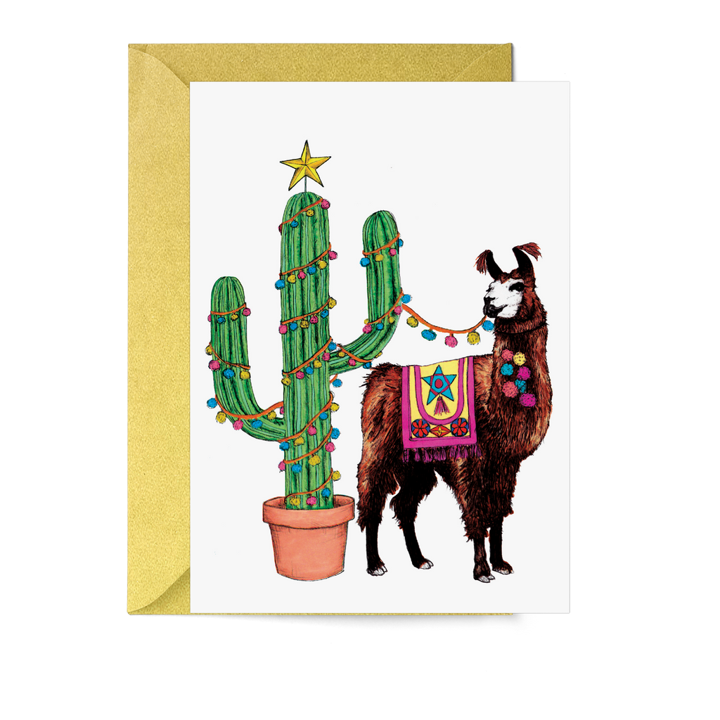 Festive Fiesta Llama Christmas Card - Fawn and Thistle