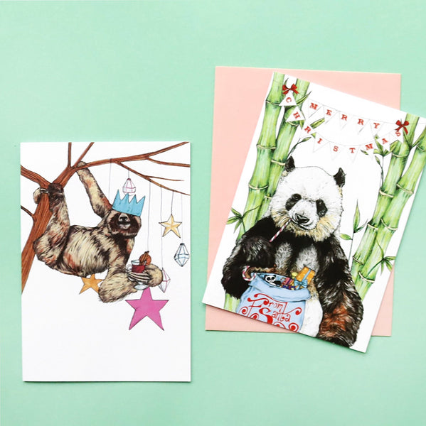 'Festive Fiesta' Panda Christmas Card - Fawn and Thistle