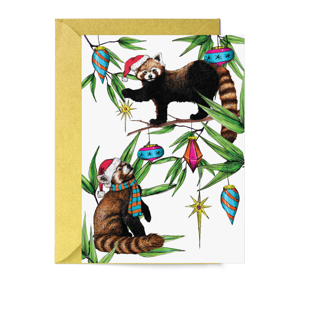 'Festive Fiesta' Red Pandas Christmas Card - Fawn and Thistle
