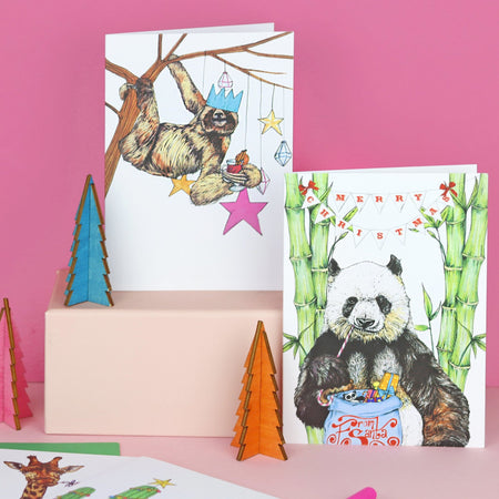 Festive Fiesta Sloth Christmas Card - Fawn and Thistle