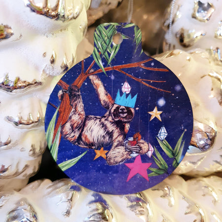 Festive Sloth Christmas Tree Decoration - Fawn and Thistle