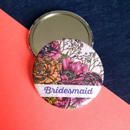 Floral Bridesmaid Pocket Mirror - Fawn and Thistle