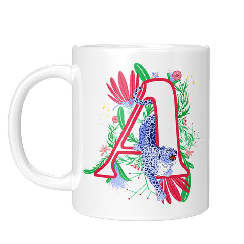 Floral Monogram Leopard Mug - Fawn and Thistle