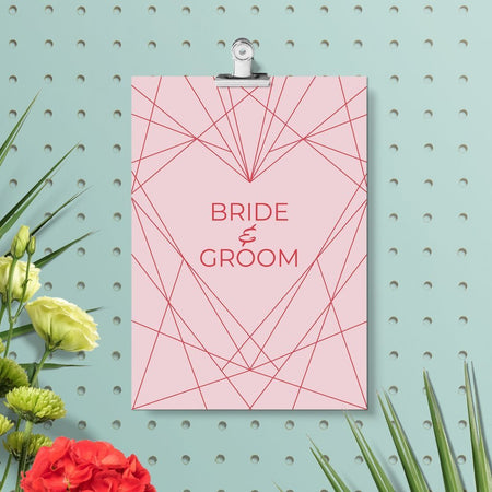 Geometric Heart Diy Wedding Invitation Set - Fawn and Thistle