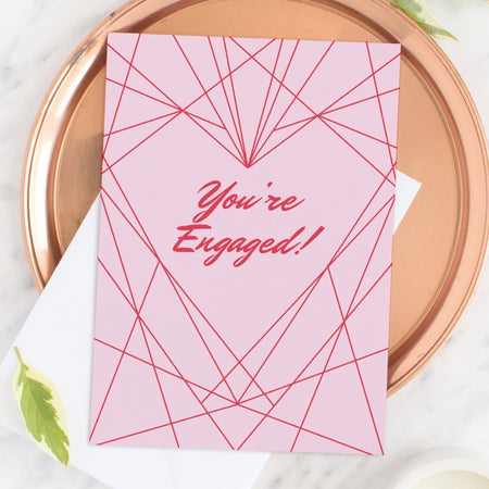 Geometric Heart Engagement Greeting Card - Fawn and Thistle