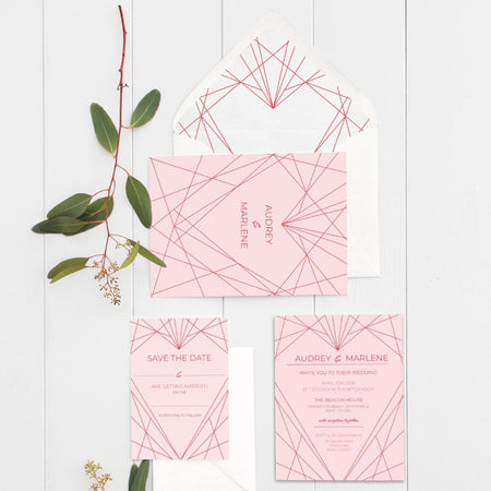 Geometric Heart Wedding Table Numbers Pack - Fawn and Thistle