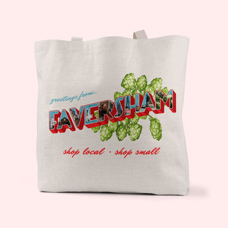 Greetings From Faversham Linen Tote Bag - Fawn and Thistle
