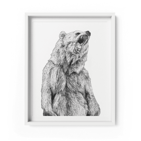Grizzly Bear A4 Art Print - Fawn and Thistle