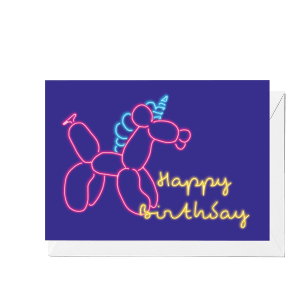 'Happy Birthday' Balloon Unicorn Greeting Card - Fawn and Thistle