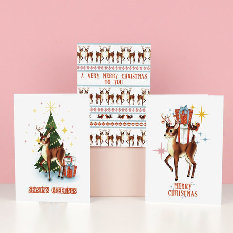 Kitsch Christmas Reindeer Christmas Card Pack of 6 - Fawn and Thistle