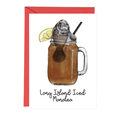 Long Island Iced Manatea Cocktail Greeting Card - Fawn and Thistle