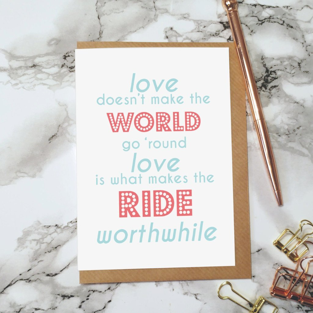 Love Makes The Ride Greeting Card - Fawn and Thistle