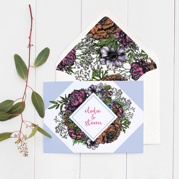Meadow Bright Floral Wedding Place Cards Pack 10 - Fawn and Thistle