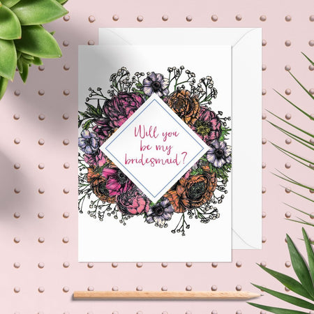 Meadow Floral Be My Bridesmaid Card - Fawn and Thistle