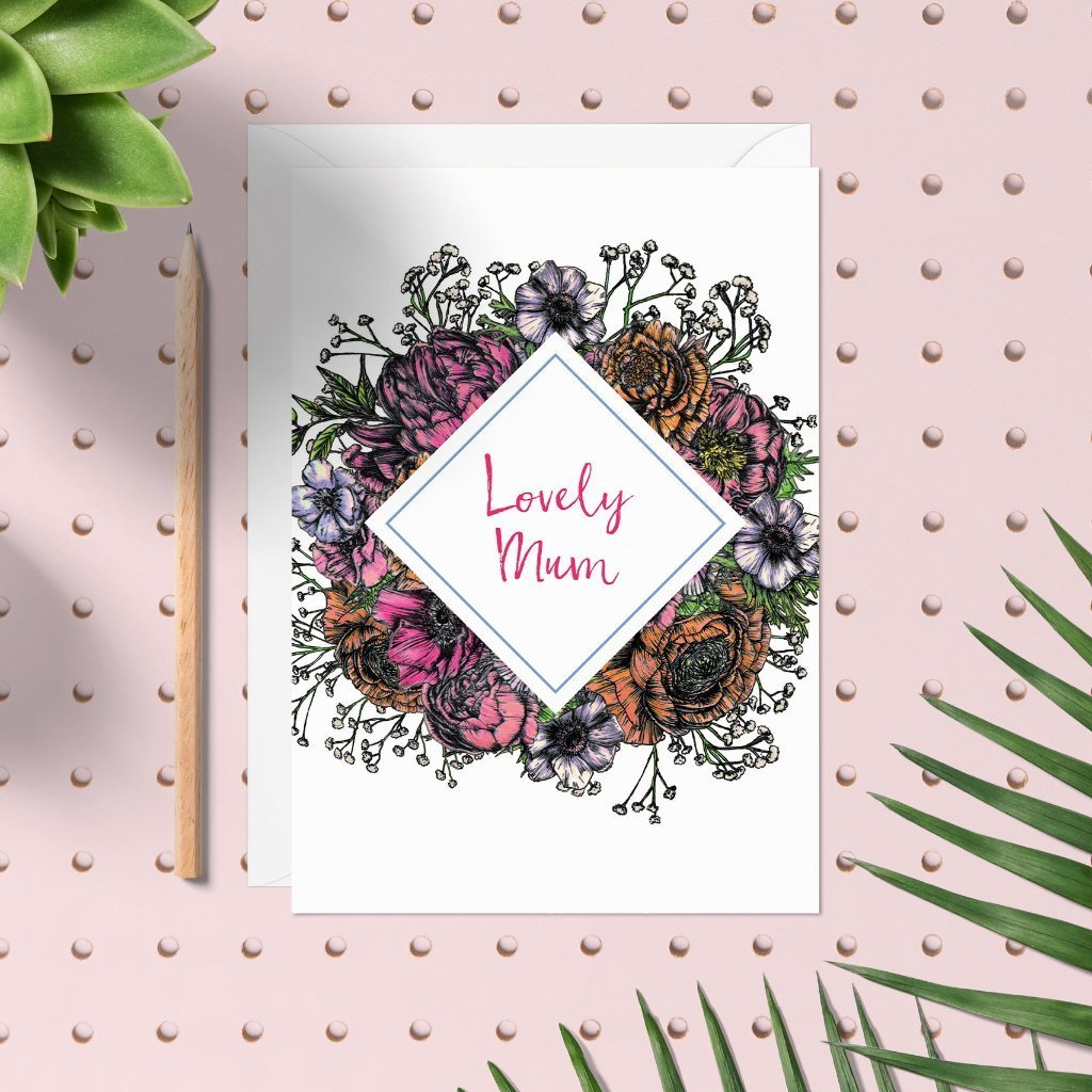 Meadow Floral 'Lovely Mum' Card - Fawn and Thistle