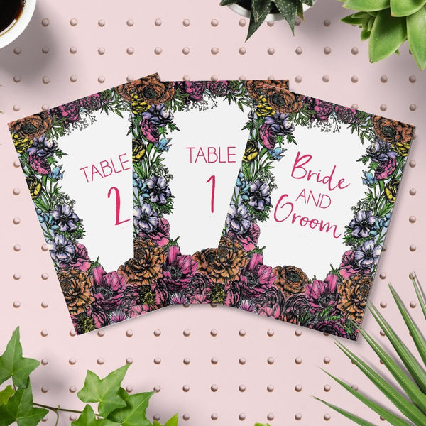 Meadow Floral Wedding Table Numbers Pack - Fawn and Thistle