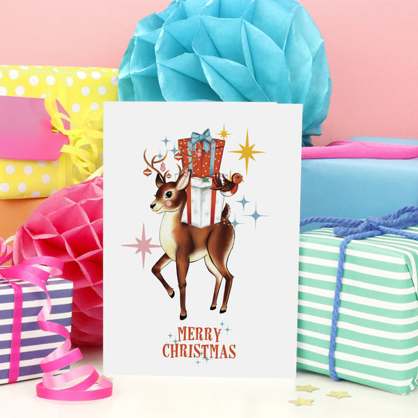 Merry Christmas Retro Reindeer & Robin Christmas Card - Fawn and Thistle