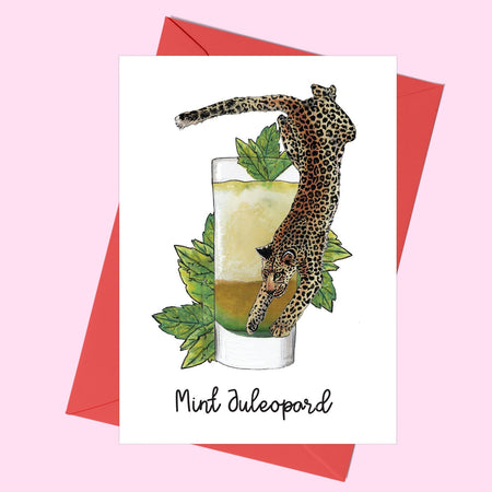 Mint Juleopard Cocktail Greeting Card - Fawn and Thistle