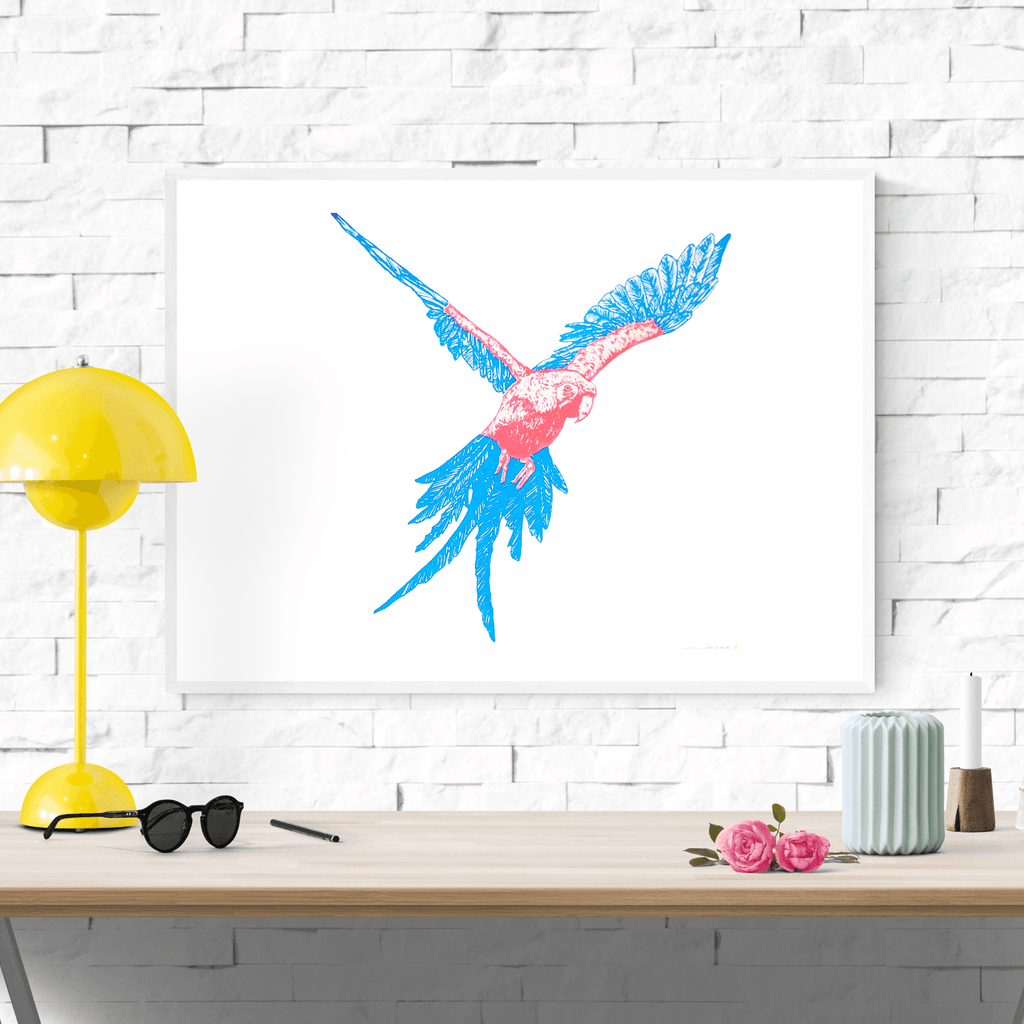 Neon Parrot Screenprint - Fawn and Thistle